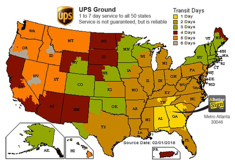 ups transit times map