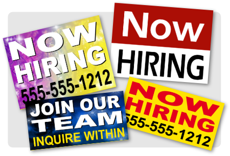 Now Hiring signs image