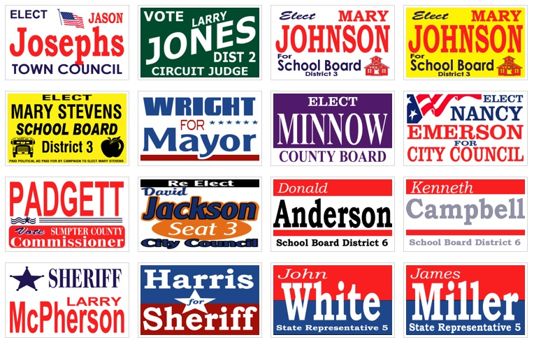 political banners samples