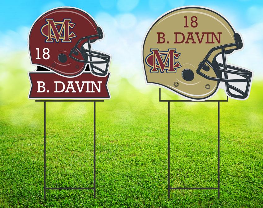football helmet yard sign image